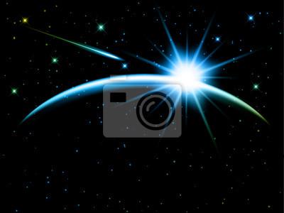 Ciel de nuit avec étoile filante