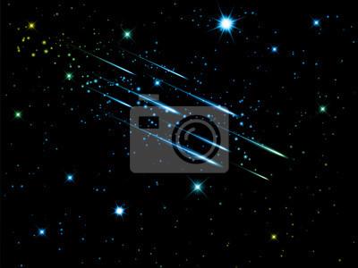 ciel de nuit avec les étoiles filantes