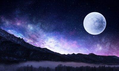 Image Ciel étoilé et lune. Médias mélangés