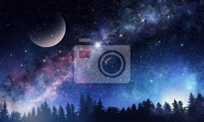 Ciel étoilé et lune. Technique mixte