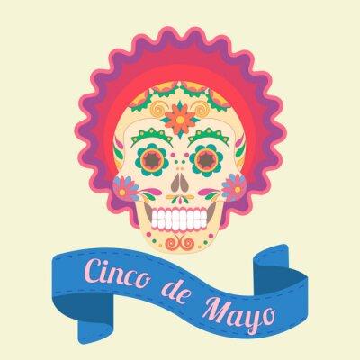 Image Cinco de Mayo, crâne peint dans les traditions nationales du Mexique