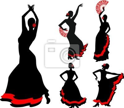 Cinq Silhouettes De Danseur De Flamenco Peintures Murales Tableaux
