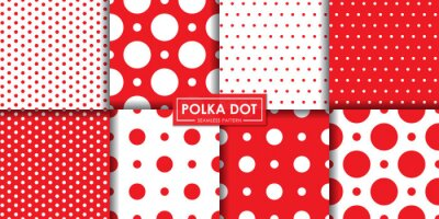 Image Classic red polkadot seamless pattern collection, Abstract background, Decorative wallpaper.