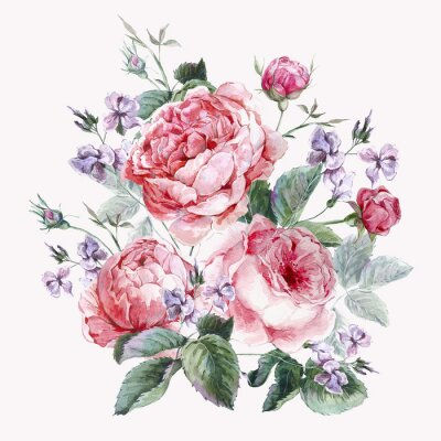 Image Classical vintage floral greeting card, watercolor bouquet of