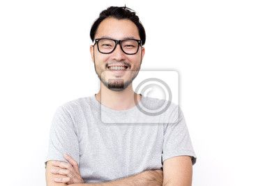 Image Closeup portrait of happy asian man face, isolated on white background with copy space.