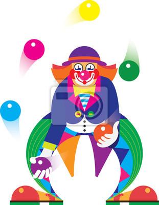 Clown De Cirque Peintures Murales Tableaux Jongleur Cirque De