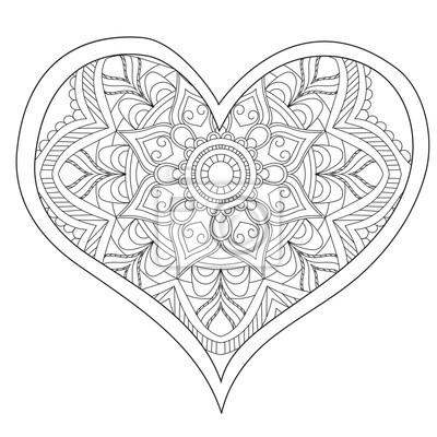 Coloriage Adulte A Imprimer Amour.Image Coeur Amour Mandala Circulaire Pour Les Adultes Conception