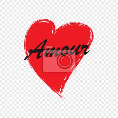 Image Coeur Dessiné Main Avec Texte Damour Pour Carte De Saint Valentin