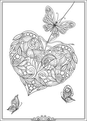 Coeurs Et Papillons Damour Decoratifs Coloriage Pour Adultes Peintures Murales Tableaux Nubes 14 Fevrier Coloration Myloview Fr