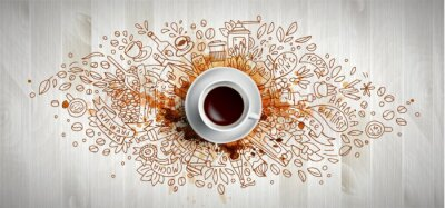 Image Coffee concept on wooden background - white coffee cup, top view with doodle illustration about coffee, beans, morning, espresso in cafe, breakfast. Morning coffee vector illustration with coffee