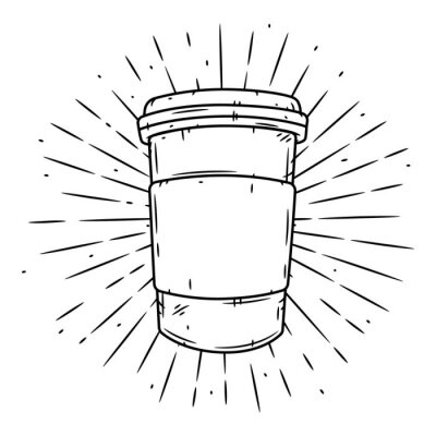 Image Coffee cup. Hand drawn vector illustration with coffee cup and divergent rays.
