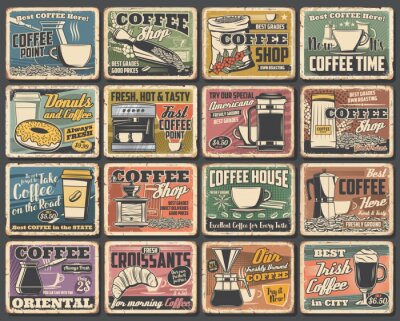 Image Coffee cups and espresso machine grunge posters of cafe vector design. Hot drink and beverage mugs with cappuccino, latte and mocha, coffee bean grinder, pot and paper cup, croissant, sugar and milk