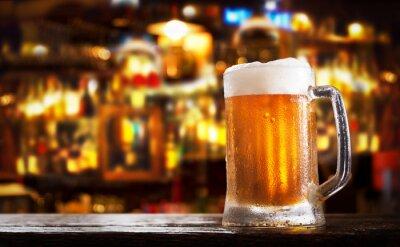 cold mug of beer in a bar