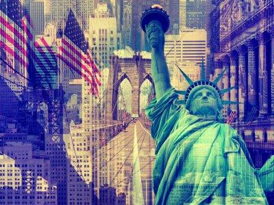Image Collage contenant plusieurs repères de New York