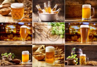 collage de bière avec divers verres et bouteilles