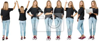 Image Collage de jeune femme. Isolé sur fond blanc