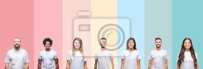 Image Collage de jeunes de différentes ethnies portant un t-shirt blanc sur fond isolé coloré avec un sourire heureux et cool sur le visage. Personne chanceuse.