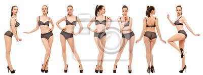 Image Collage de modèles en lingerie noire. Jeune femme posant debout sur fond blanc
