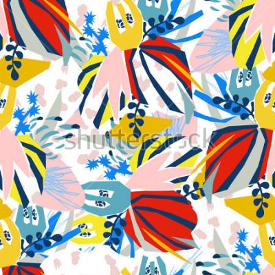 Image Collage de papier des éléments floraux abstraits. Dessinés à la principale illustration vectorielle. Croquis prêt pour affiche plat scandinave contemporain, invitation, carte postale, conception de t-