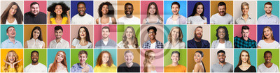 Image Collage of diversed people expressing positive emotions