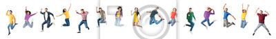 Image Collage of emotional people jumping on white background. Banner design