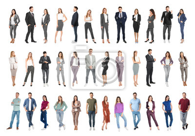 Image Collage of emotional people on white background