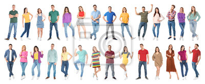 Image Collage of emotional people on white background. Banner design