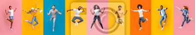 Image Collage of positive multiracial young people jumping over colorful backgrounds