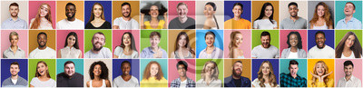 Image Collage of smiling and happy multiethnic people