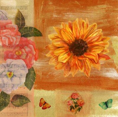 Image Collage vintage avec musique de feuille, papillons, roses et sunflow
