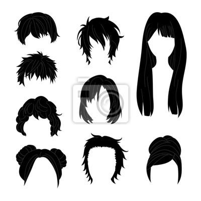 Image Collection Coiffure Pour Homme Et Femme Noir Cheveux Dessin Ensemble