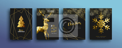 Image Collection de cartes de voeux de luxe Noël or