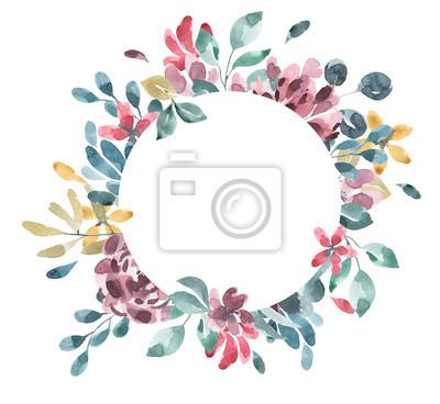 Collection De Fleurs Fleur Aquarelle Et Cadre Geometrique Floral