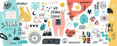 Image Collection de slogans ou phrases manuscrites et d'éléments de design décoratif dessinés à la main dans un style branché doodle - animaux, plantes, symboles. Illustration vectorielle colorée pour l'imp