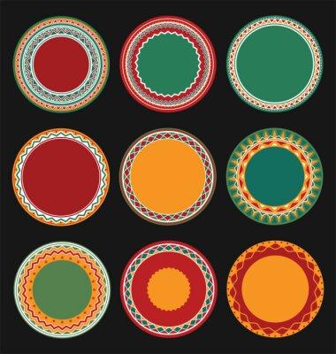 Image Collection, mexicain, rond, décoratif, bord, cadres, noir, rempli, fond