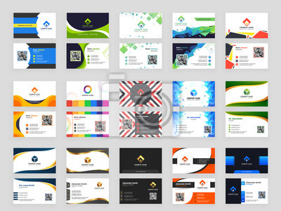 Image Collection of 15 horizontal Business card template design with front and back presentation.