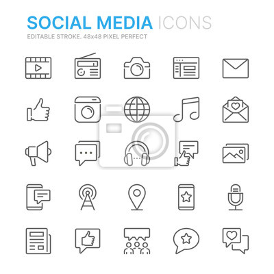 Image Collection of social media related line icons. 48x48 Pixel Perfect. Editable stroke