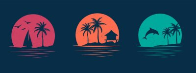 Image Collection of vector graphics with holiday themes. Set of designs for apparel. Silhouettes of dolphin, beach, palm trees, birds and yachts.