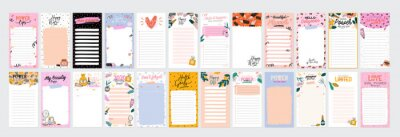 Image Collection of weekly or daily planner, note paper, to do list, stickers templates decorated by cute beauty cosmetic illustrations and trendy lettering. Trendy scheduler or organizer. Flat vector