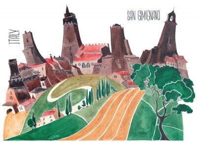 Image Collines de la toscane. Nature stylisée et architecture de l'Italie. Une illustration d'une aquarelle.