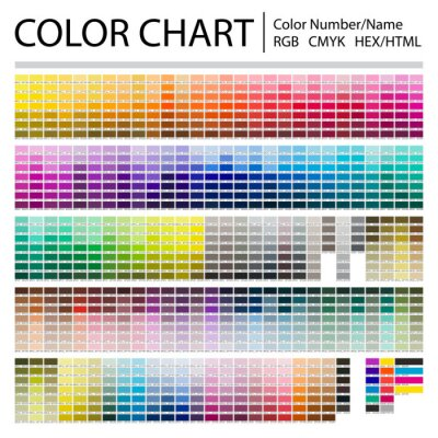 Image Color Chart. Print Test Page. Color Numbers or Names. RGB, CMYK, Pantone, HEX HTML codes. Vector color palette.