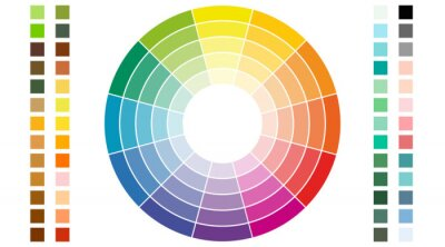 Image Color scheme. Circular color scheme with warm and cold colors. Vector illustration of a color