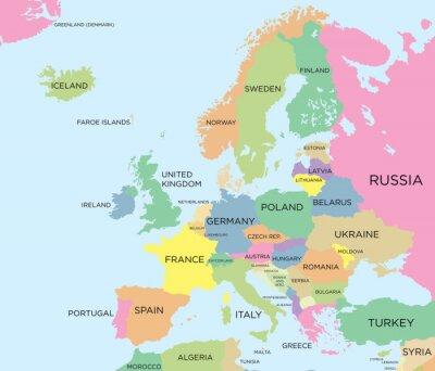 Image Coloré carte politique de l'Europe