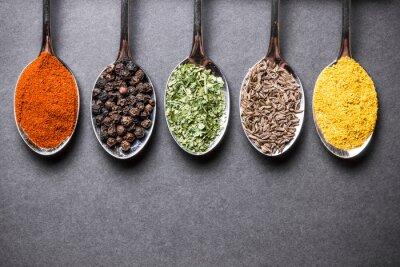 Image Coloré, épices, métal, Cuillères, noir, rugueux ...