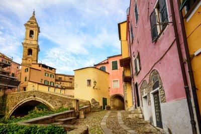 Image Coloré, maisons, vieux, ville, Dolcedo, Ligurie, Italie