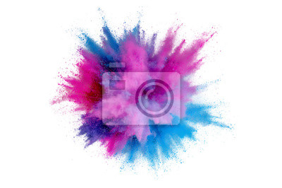 Image Colored powder explosion on a white background. Abstract closeup dust on backdrop. Colorful explode. Paint holi