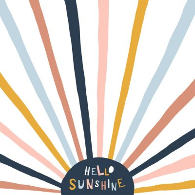 Image Colorful childish illustration with sun and text. Hello sunshine paper cut style lettering. Typographic print for kids nursery design.