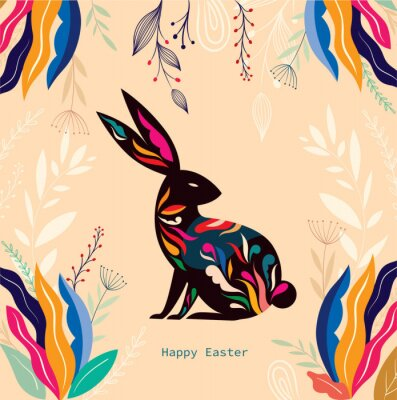 Colorful illustration with hare. Happy easter greeting card with decorative easter bunny