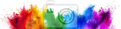 Image colorful rainbow holi paint color powder explosion isolated white wide panorama background