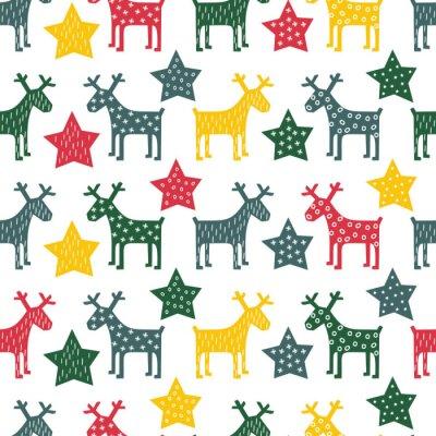 Image Colorful retriver seamless Noël - Noël rennes et nuit étoiles. Bonne fond du Nouvel An. Vector design pour des vacances d'hiver sur fond blanc.